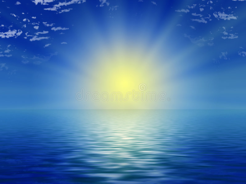 Sun, blue sky and ocean stock illustration