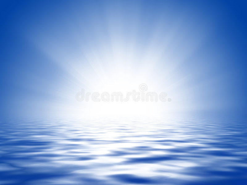 Sun, blue sky and ocean vector illustration