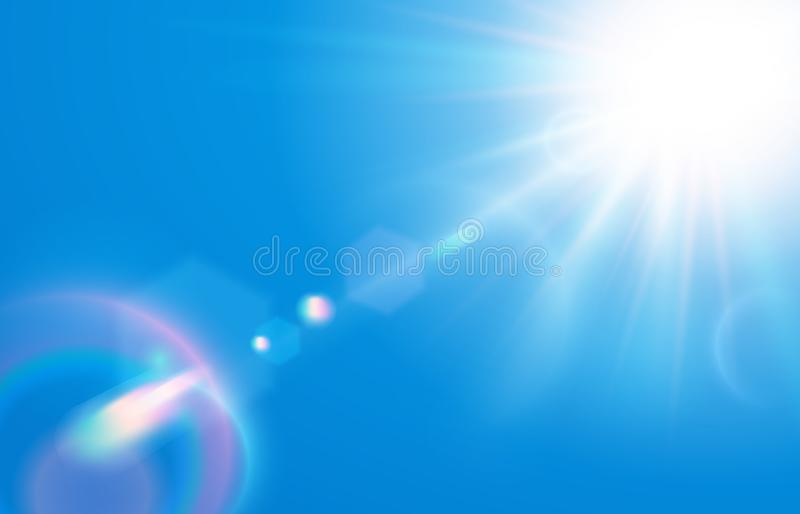 Sun in blue sky. Warm solar lens flare in clear skies, sunny day and sun light rays vector illustration. Sun in blue sky. Warm solar lens flare in clear skies royalty free illustration