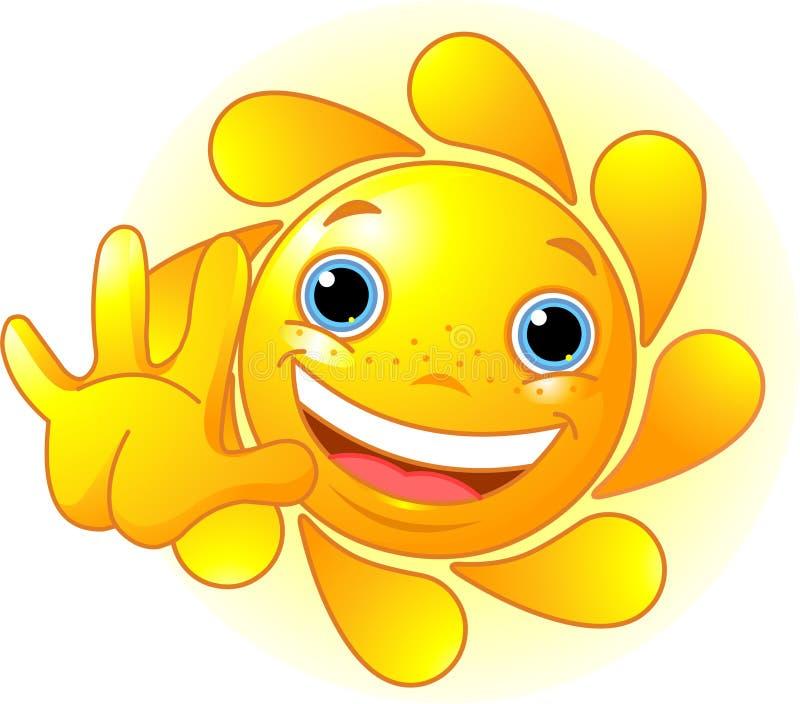 Sun bonito que renuncia o olá! ilustração royalty free