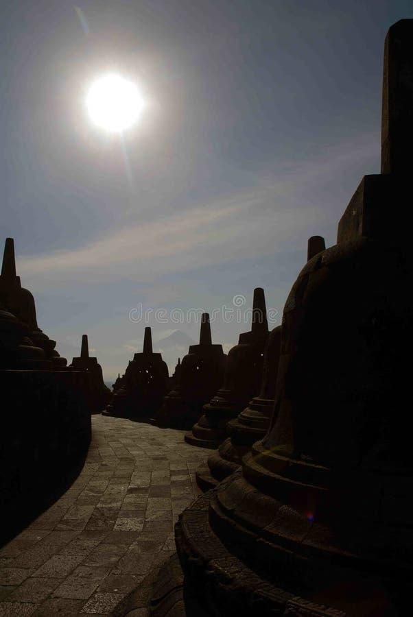 Sun on the Borobudur tample. Beautifull sun in the indonesian budish tample royalty free stock photo