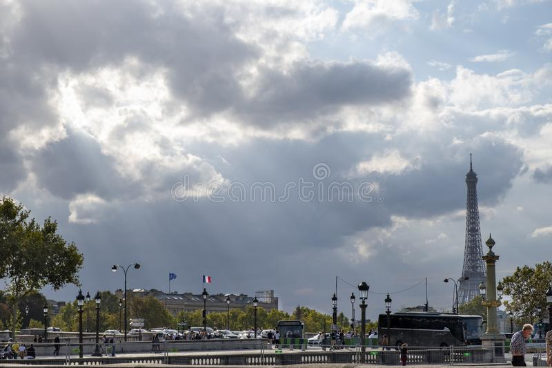 Sun breaking though in Paris royalty free stock image