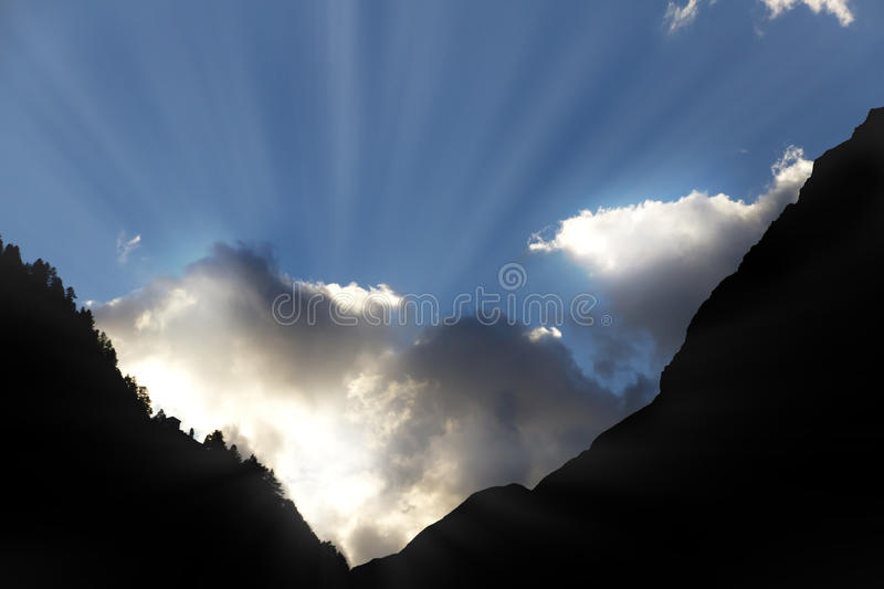 Sun Breaks Through Clouds Royalty Free Stock Image