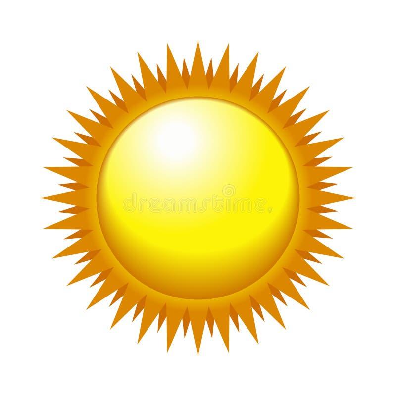 Sun brilhante no céu claro. Vetor ilustração royalty free