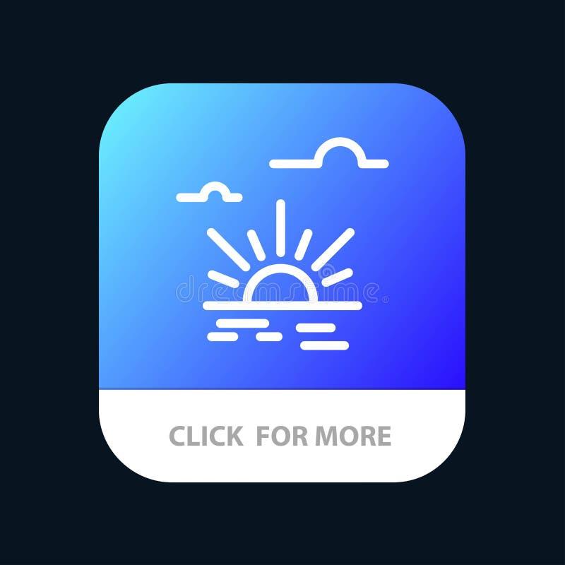 Sun, brillo, luz, botón móvil del App de la primavera Android y línea versión del IOS stock de ilustración