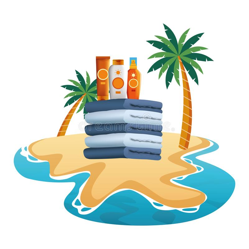 Sun bronzers bottles on towels piled up. In the beach scenery background ,vector illustration graphic design vector illustration