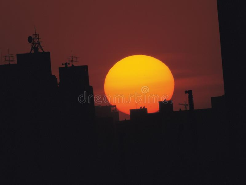 Sun with Building royalty free stock image