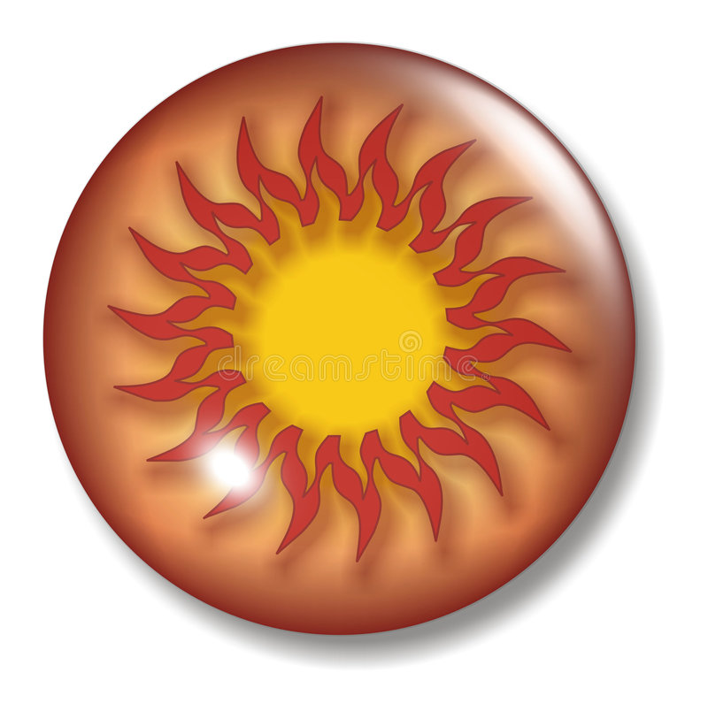 Sun Button Orb vector illustration