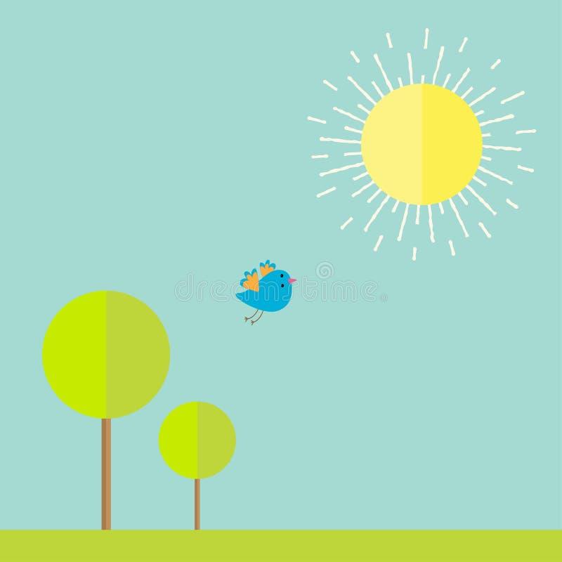 Sun, céu, árvore, grama, pássaro Paisagem do verão no estilo liso do projeto ilustração stock