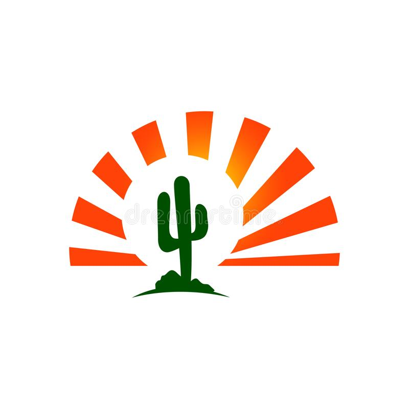Sun and cactus logo sign vector concept design texas west template. Orange, outdoor, sunset, travel, wild, print, abstract, outline, arizona, western, shape vector illustration