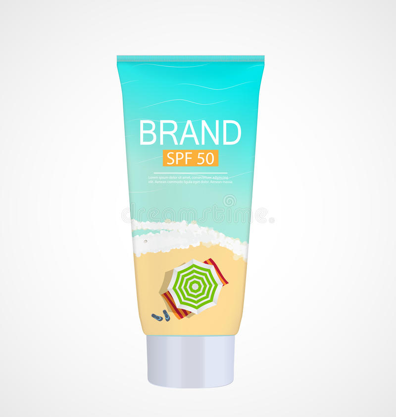 Sun Care Cream Bottle, Tube Template for Ads or Magazine Backgro. Und. 3D Realistic Vector Iillustration. EPS10 royalty free illustration