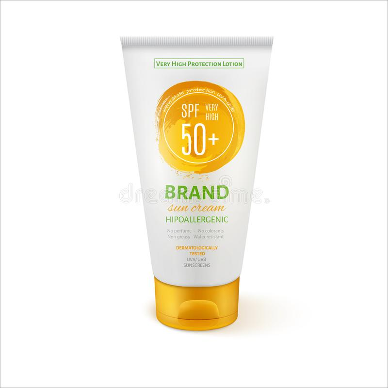 Sun Care Cream Tube Template for Ads or Magazine Background. 3D Realistic Vector Mock up. EPS10 vector design royalty free illustration