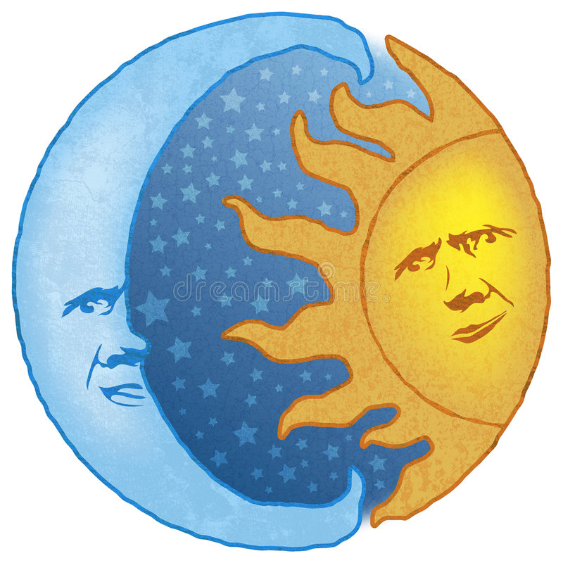 Sun celestial e lua ilustração royalty free