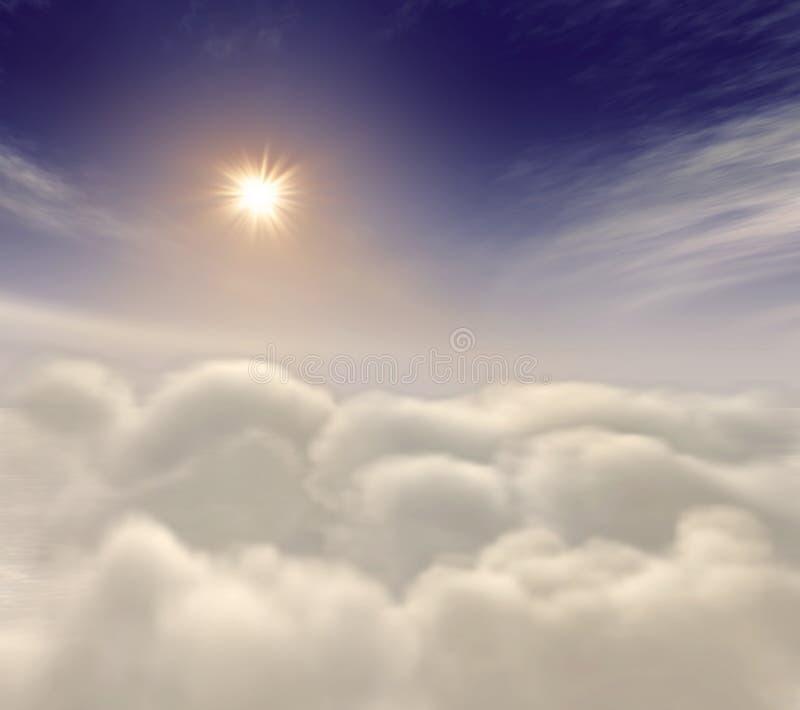 Sun che aumenta fra le nubi celestiali illustrazione vettoriale