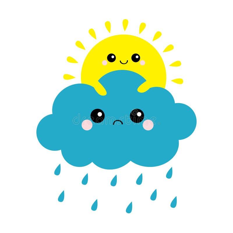 Sun che tiene l'insieme della nuvola Tempo della goccia di pioggia Sorridere e fronte triste Amici per sempre Nubi lanuginose Clo illustrazione vettoriale