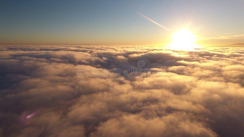 Sun chutant au-dessous des nuages images stock