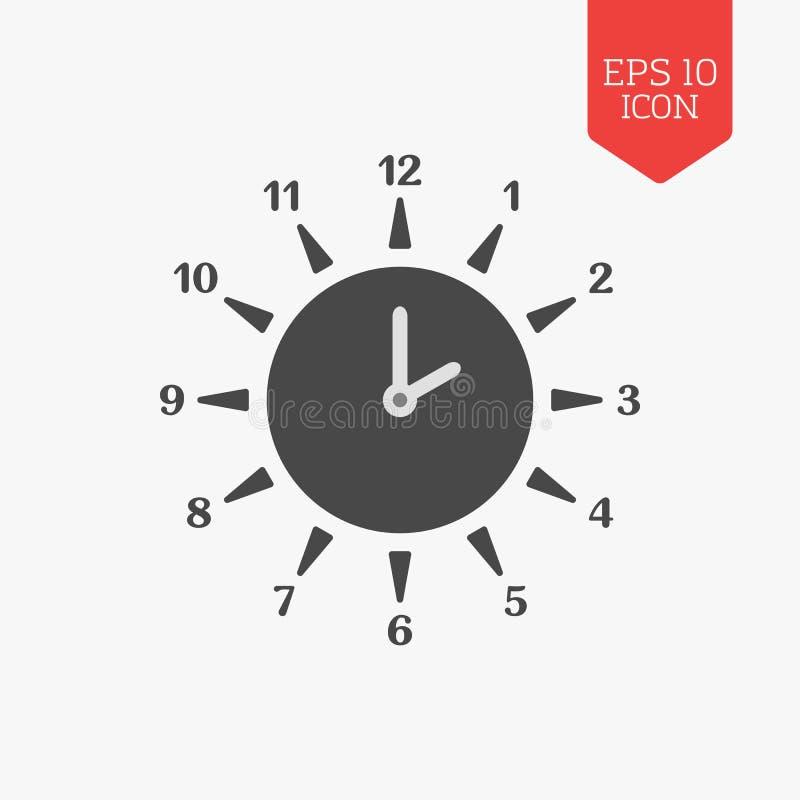 Sun clock icon. Summer time concept. Flat design gray color sym stock illustration