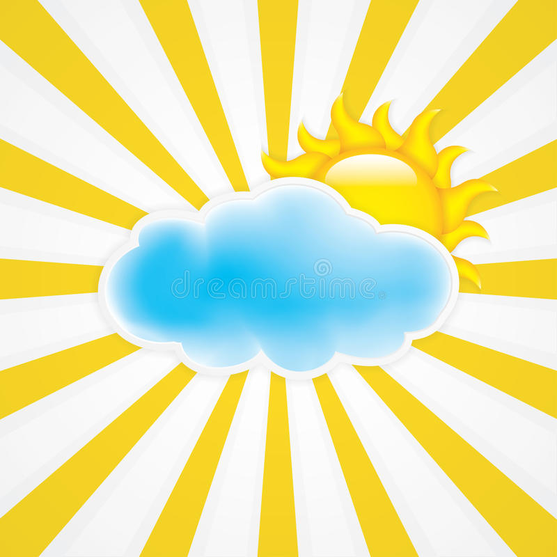 Download Sun with cloud stock vector. Image of paper, meteorology - 25478713