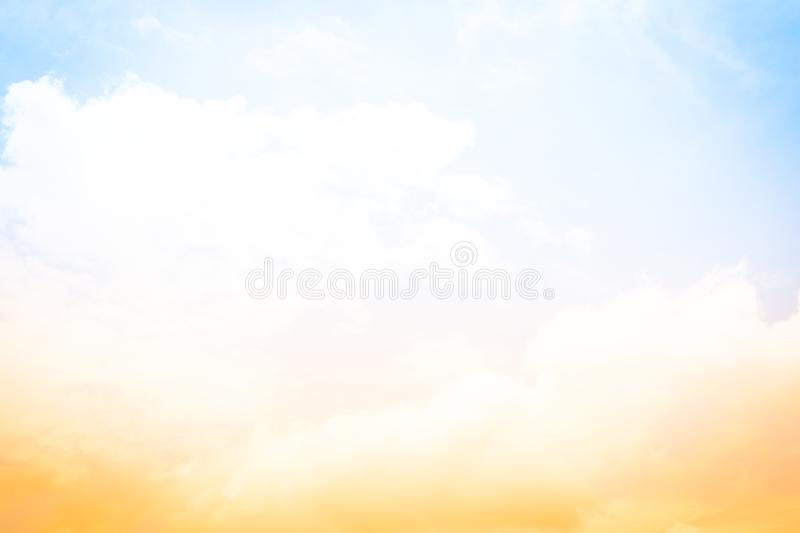Sun and cloud background with a pastel color blur light sky back. Ground at summer royalty free stock photography
