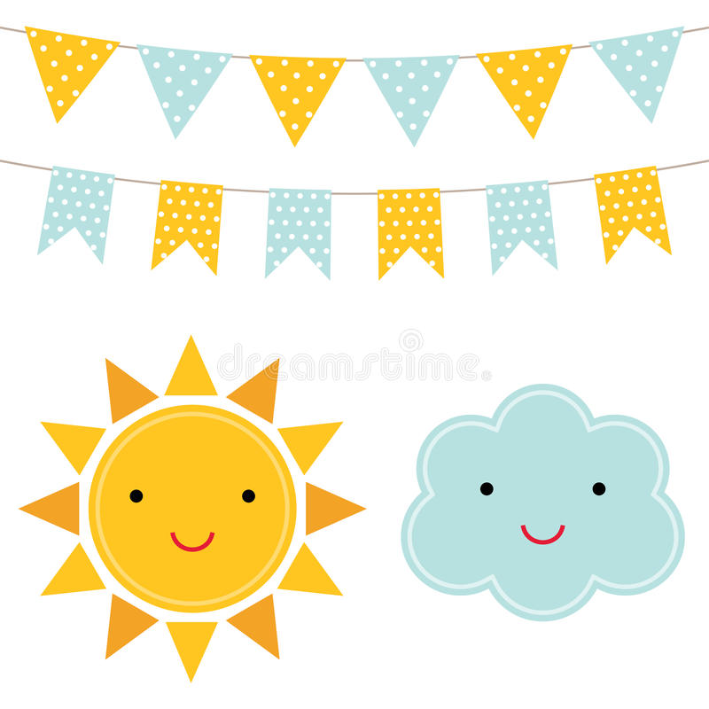 Download Sun and cloud cartoons stock vector. Illustration of element - 86238587