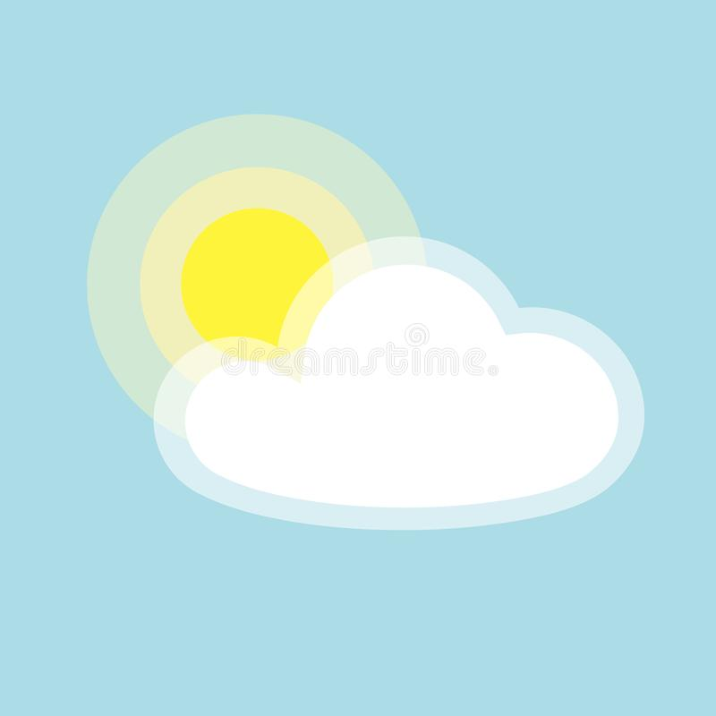 Sun cloud icon element simple app Isolated symbol on blue background Icon cloudy weather Flat design element of applications. Sun cloud icon element simple app vector illustration