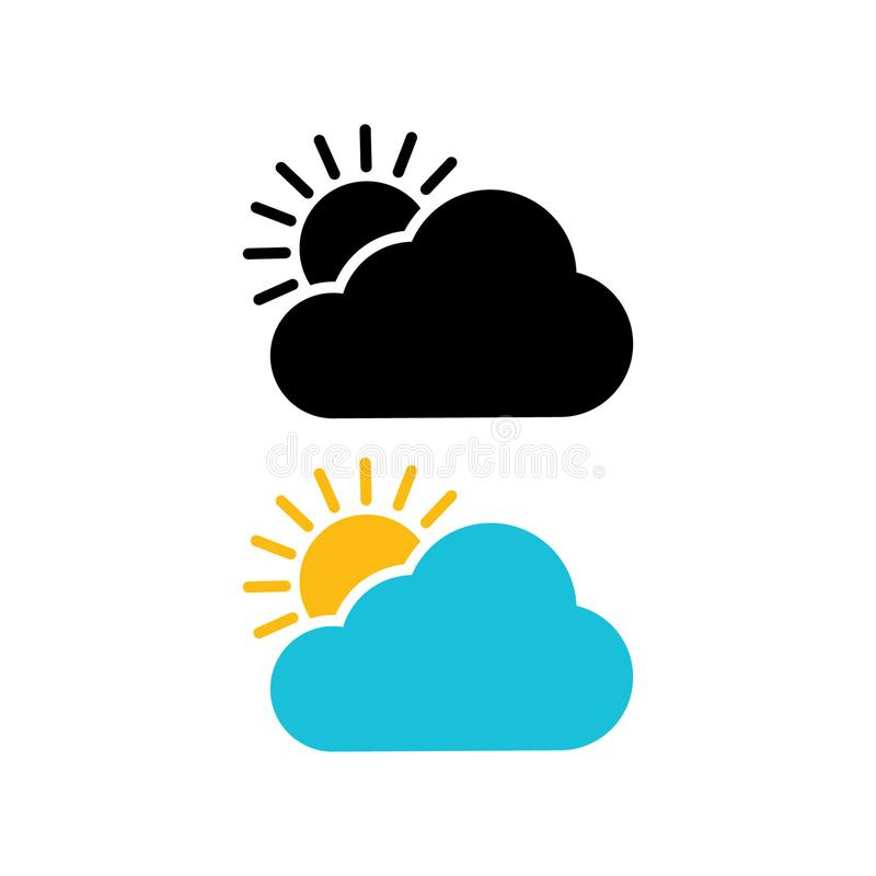 The sun and cloud icon. Modern weather icon. stock illustration