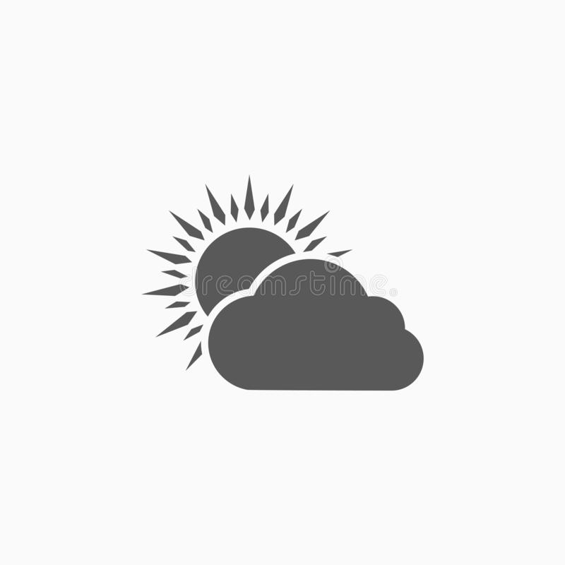 Sun and cloud icon, sky, day, daytime, daylight, midday. Sun and cloud icon, sky vector, day sign, daytime vector, daylight icon, midday symbol vector illustration