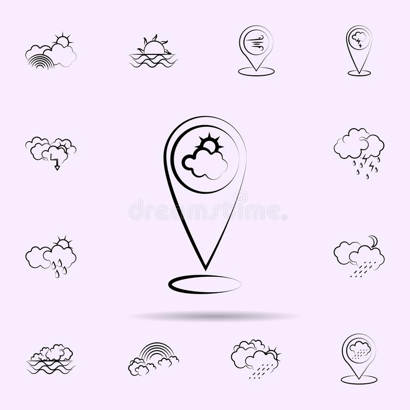 Sun, cloud, pin icon. Weather icons universal set for web and mobile. On color background vector illustration