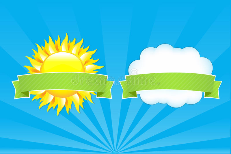 Download Sun And Cloud With Ribbons stock vector. Image of nature - 19083684