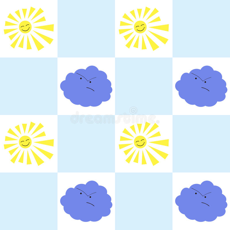 Sun and cloud seamless pattern stock illustration