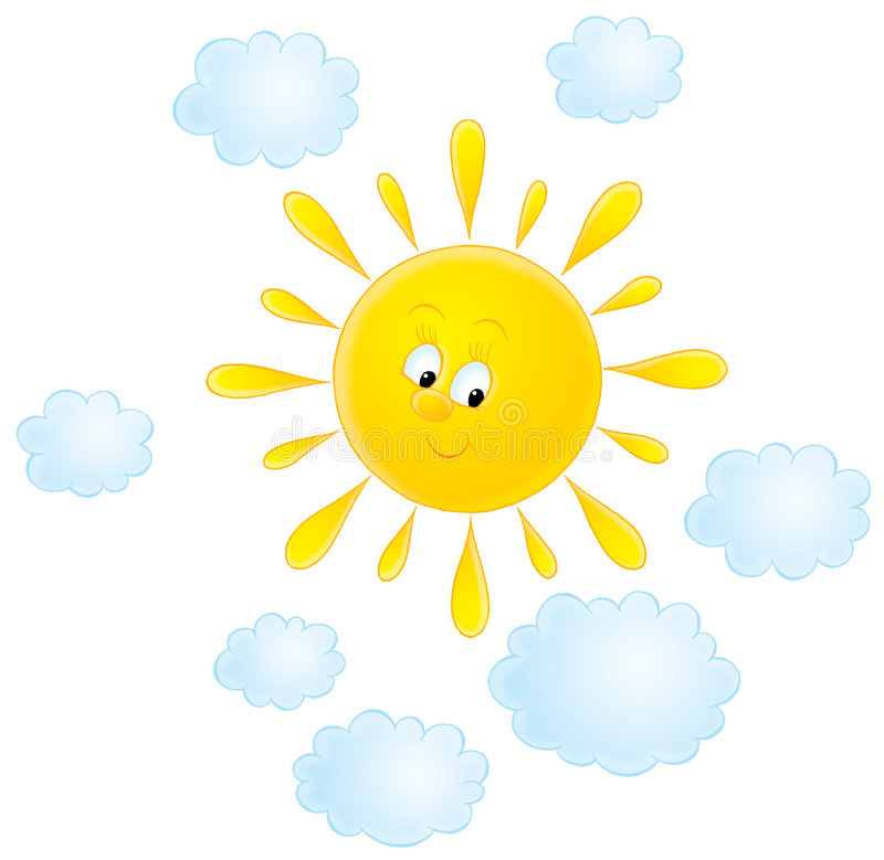 Sun and Clouds stock illustration