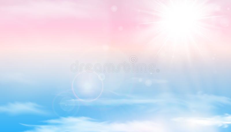 Sun and clouds background with a soft pastel color. Fantasy magical sunny sky pastel background with colorful cloudy. Sunny sky, fluffy white cloud. Freedom vector illustration