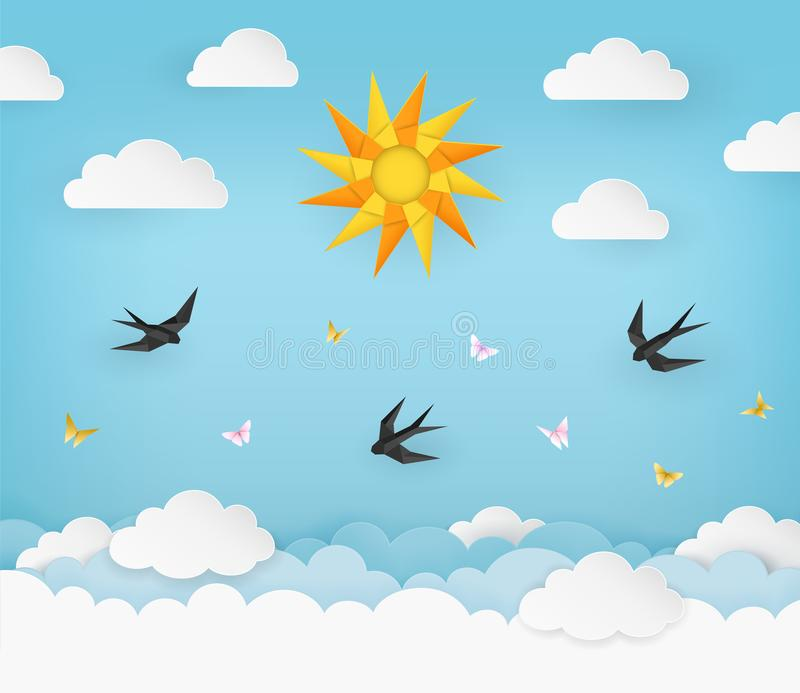 Sun, clouds, birds, and butterflies on the clear blue summer sky background. Black swallows and pink and yellow butterflies. stock illustration