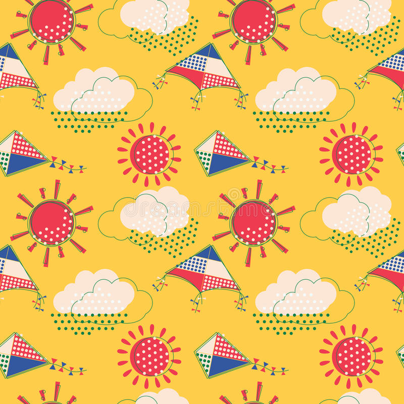 Sun with clouds and flying kites seamless pattern royalty free illustration