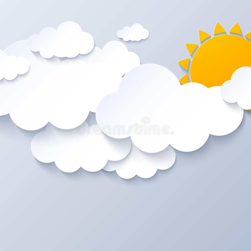 Sun and clouds on gray sky background stock illustration