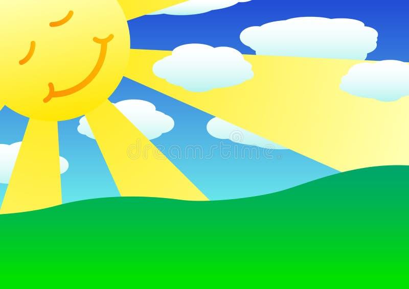 Sun, clouds and green hills. Landscape 2d illustration royalty free illustration