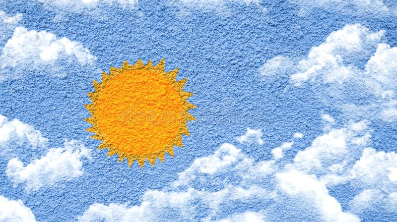 Sun and clouds paint shape form on cement wall. Close up stock photography