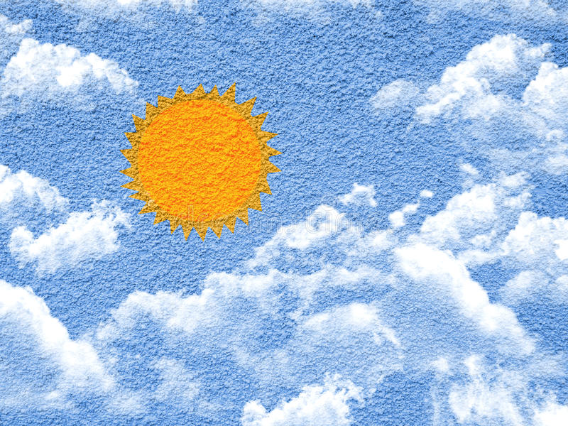 Sun and clouds paint shape form on wall. Sun and clouds paint shape form on cement wall stock image