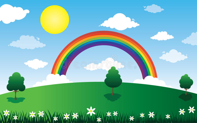 Sun and clouds with rainbow landscape royalty free illustration
