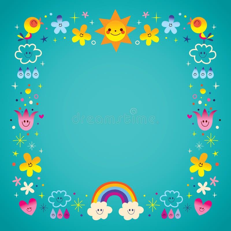 Sun clouds rainbow singing birds raindrops flowers nature border royalty free illustration