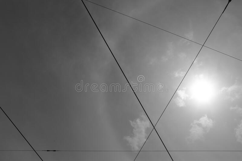 Sun and clouds through skylight royalty free stock photography