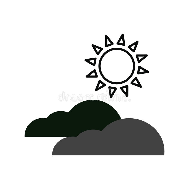 Sun and clouds vector icons. On white background royalty free illustration