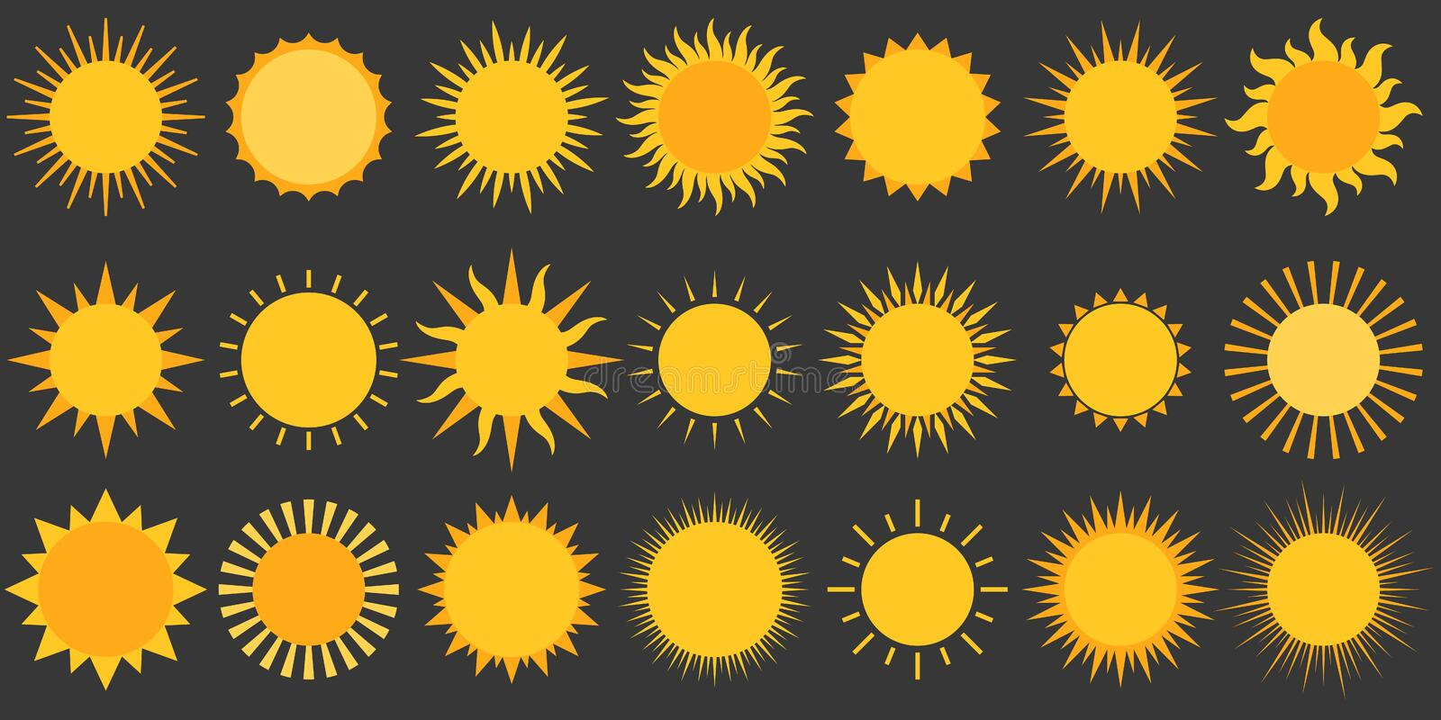 Sun collection vector icon royalty free illustration