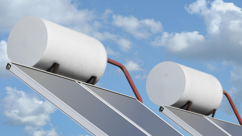 Sun Collector. Sun solar warm water panel collector royalty free stock image