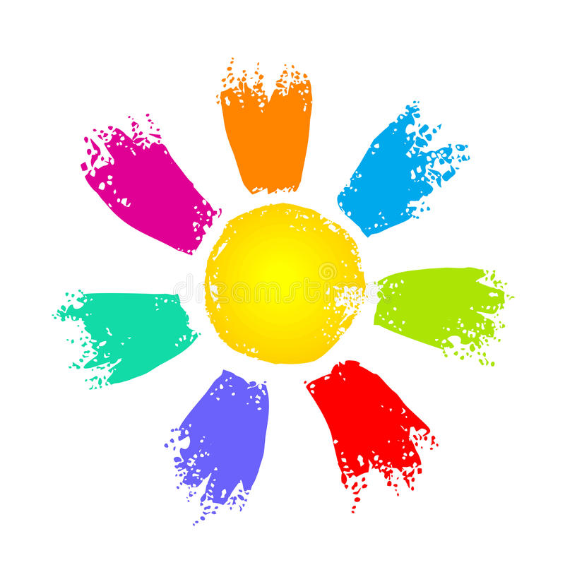 Sun with colorful rays. Simple sun symbol with colorful rays, vector isolated on white vector illustration