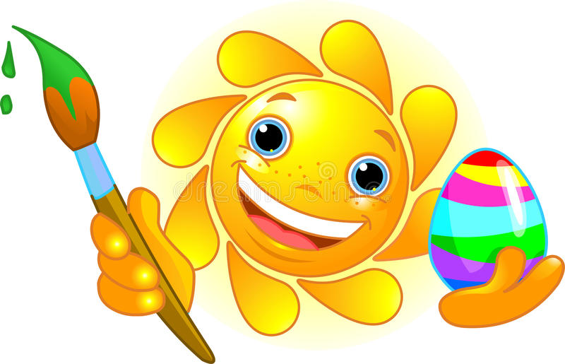 Sun coloring Easter Egg royalty free illustration