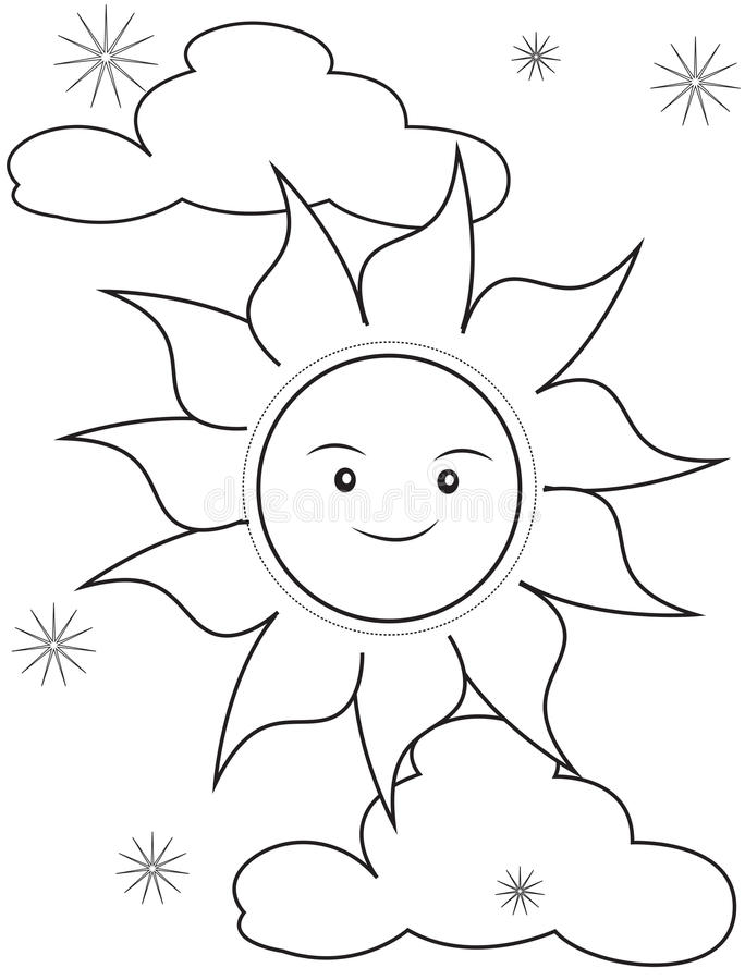 download sun coloring page stock illustration illustration of beauty 50763385 - Sun Coloring Page