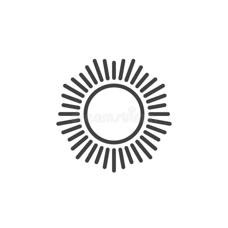 Sun com ícone shinning do esboço dos raios de sol ilustração royalty free