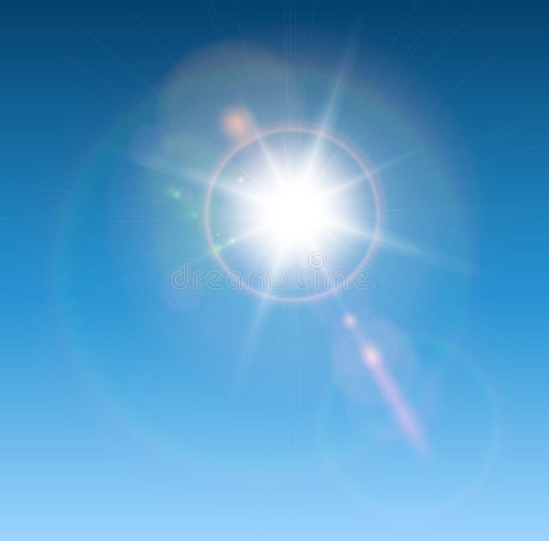 Sun com alargamento da lente ilustração stock