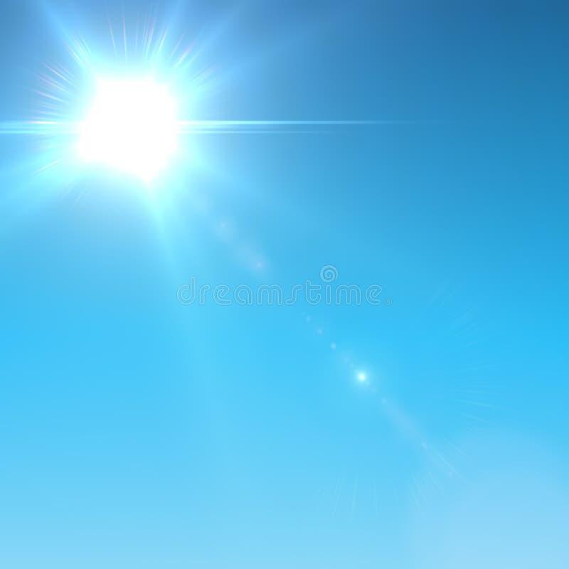 Sun com alargamento da lente. ilustração royalty free